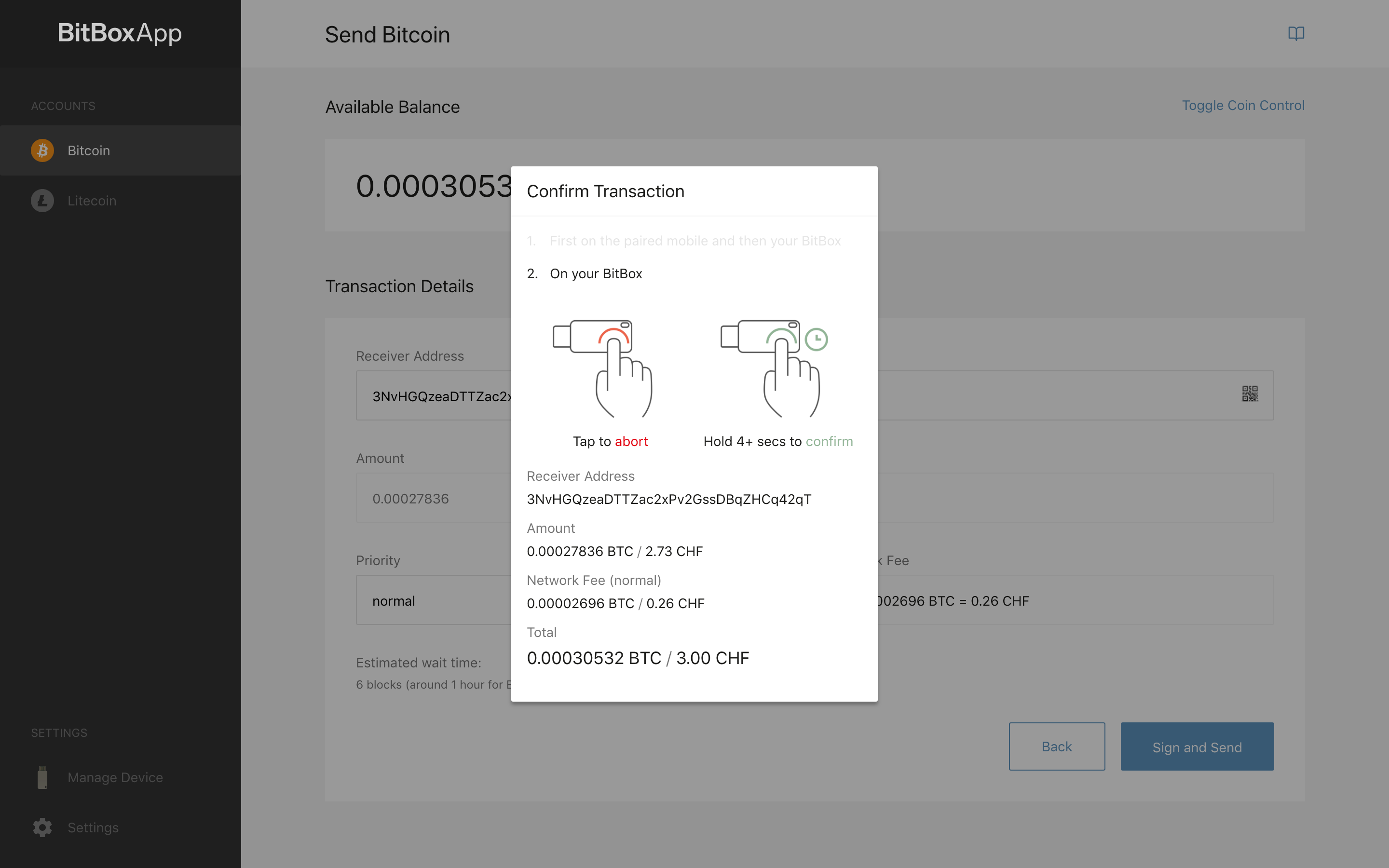 Confirm transaction on BitBox01
